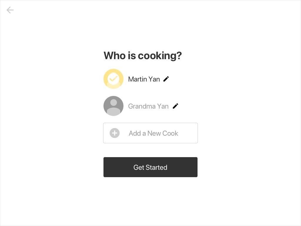 Wireframe: who is cooking?