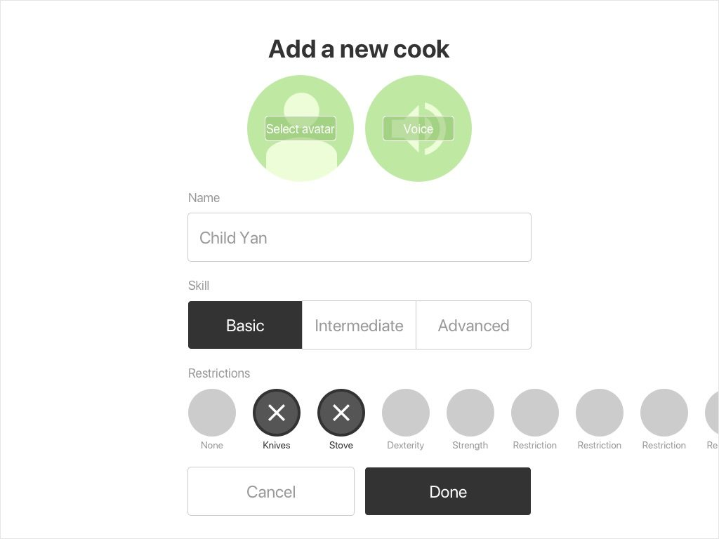 Wireframe: Add a new cook