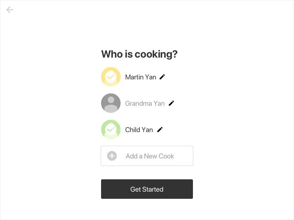 Wireframe: Select the new cook